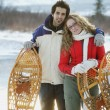 Stock Photo: Couple With Snowshoes