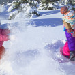 Stock Photo: Mother And Daughter Having Snowball Fight