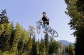 A Mountain Biker Jump — Stock Photo