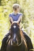 Girl Riding A Horse — Stock Photo