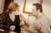Couple Having Fight Over A Card Game — Stok fotoğraf