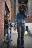 Fashionable Couple In An Alley — Stock Photo