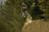 A Mountain Biker Jump — Stock Photo