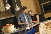 Couple Cook Together In Kitchen — Stock Photo