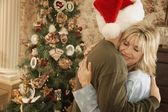 A Christmas Morning Embrace — Stock Photo