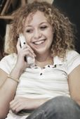 Woman Talks On Phone — Stock Photo