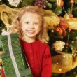 Child With Christmas Present — Stock fotografie