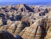 Banded Colors In Eroded Landscape, Badlands National Park — Stock Photo
