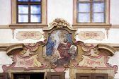 Decorative Plasterwork Above Doorway, South Bohemia, Czech Republic — Stock Photo
