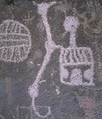 Petroglyph Rock Art, Mojave Desert, California — Stock Photo