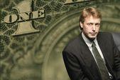 American Dollar Bill And Businessman — Stock Photo