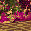 Closeup Of Christmas Trees And Presents — Stock Photo