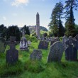 Old Gravestones And Tower Of St. Kevin's Church, Historic Glendalough Monastery — Stock Photo