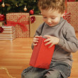 Stock Photo: Child Opens Christmas Present