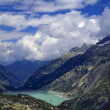 Stock Photo: Hydro Electric Reservoir In Swiss Alps