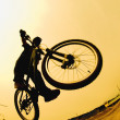 Stock Photo: Silhouette Of Cyclist Against Yellow Sky