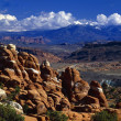 Stock Photo: Redrock Formations Called Fiery Furnace, LSal Mountains In Distance, Arches National Park