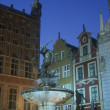 Foto Stock: Neptune Fountain At Twilight Gdansk Poland