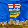 Stock Photo: Alberta's Flag Behind Edmonton Skyline