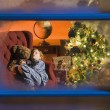 Stock Photo: Child Asleep On Christmas Eve