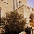 A Priest Standing Outside The Church — Stock Photo
