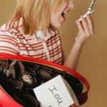 A Teenage Girl Upset Over A Box Of Empty Chocolates — Stock Photo
