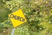 Church Sign On Side Of Road — Stock Photo