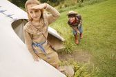 Cowboy Sneaks Up On Indian — Stock Photo