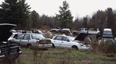 Vehicles In A Junk Yard — Stock Photo