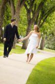Couple Walk Hand In Hand — Stock Photo