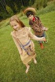 Children Play Cowboys And Indians — Stock Photo