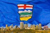 Alberta's Flag Behind Edmonton Skyline — Stock Photo