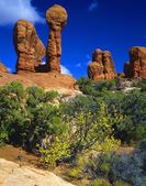Hoodoo Rock Formations, Arches National Park, Utah, Usa — Stock Photo