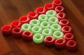 Fruit Flavored O's In Christmas Colors — Stock Photo