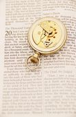 Inside Of Pocket Watch On The Bible — Stockfoto