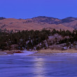 Stock Photo: Moonrise, Canyon Ferry Lake, Winter
