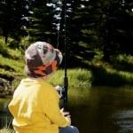 Child Goes Fishing — Stock Photo