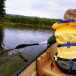 Stock Photo: Child Rows Canoe