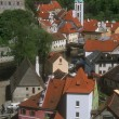 Stock Photo: Aerial View Of Buildings And Rooftops Cesky Krumlov Czech Republic