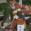 Foto de Stock  : Aerial View Of Buildings And Rooftops Cesky Krumlov Czech Republic