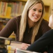 Two Girls In Library — Stock Photo