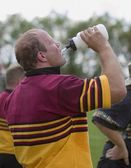 Rugby Player Drinking Water — Stock Photo