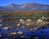 Hamlin Peak, Sandy Stream Pond, Flanks Of Mount Katahdin, Autumn Color, Baxter State Park — Stock Photo