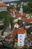Aerial View Of Buildings And Rooftops Cesky Krumlov Czech Republic — Stock Photo