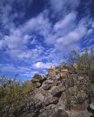 Rocks With Ancient Petroglyph Rock Art, Near Three Rivers Petroglyph National Recreation Site — Foto Stock