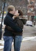 Romantic Winter Kiss — Stock Photo