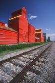 Railway Track And Prairie Grain Elevator — Stock Photo