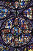 Stained Glass Window In Chartres Cathedral — Stock Photo