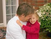 Daughter Hugs Father — Stock Photo