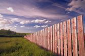 Wooden Boundary Fence In Southern Alberta, Canada — Photo